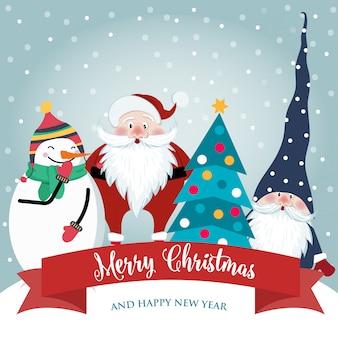 Kartka świąteczna z uroczym mikołajem, gnomem i bałwanem. płaska konstrukcja. wektor