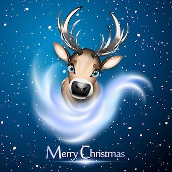 Kartka świąteczna z uroczym reniferem na tle śniegu i bue