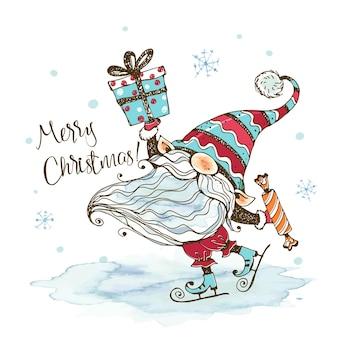 Kartka świąteczna z uroczym skrzatem nordyckim z prezentami, który jeździ na łyżwach. akwarele i grafika. doodle styl.