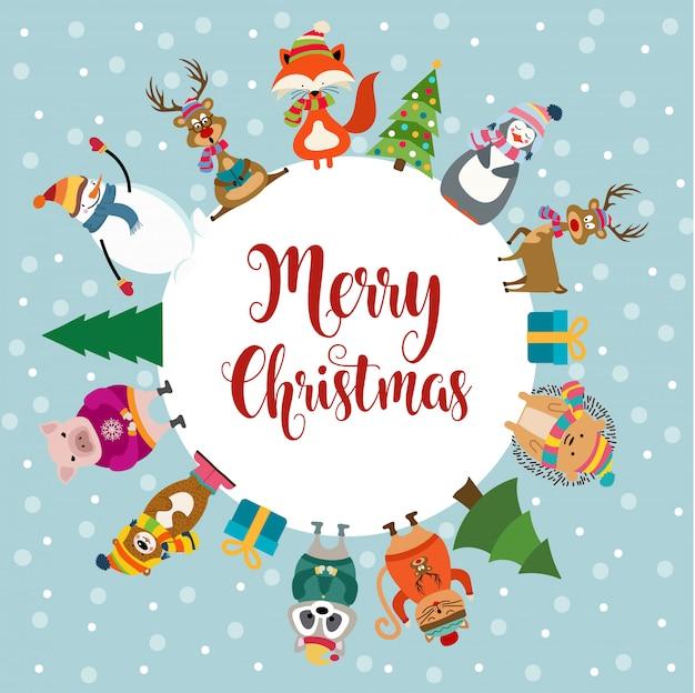 Kartka świąteczna z uroczymi ubranymi zwierzętami i życzeniami