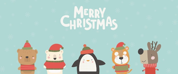 Kartka świąteczna z uroczymi zwierzętami. ręcznie rysowane znaki ilustracja wektorowa kartkę z życzeniami.