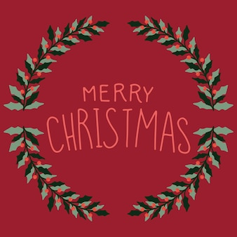 Kartka świąteczna z wieńcem i obrazkiem.