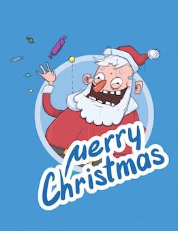 Kartka świąteczna z zabawnym mikołajem, uśmiechając się i machając ręką. mikołaj macha na powitanie i rzuca cukierki. napis na niebieskim tle. okrągły element. ilustracja postaci z kreskówek.