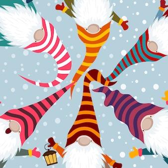 Kartka świąteczna z zabawnymi gnomami
