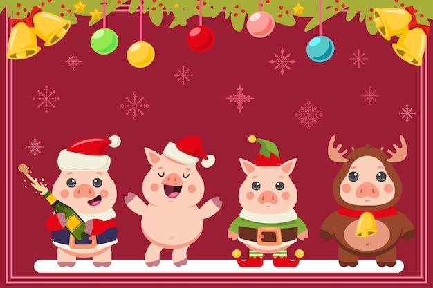 Kartka świąteczna z zabawnymi świniami w strojach świętego mikołaja, elfa i renifera. ilustracja kreskówka wektor z uroczych zwierzątek.