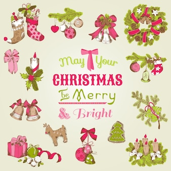 Kartka świąteczna z zestawem ręcznie rysowane elementy świąteczne