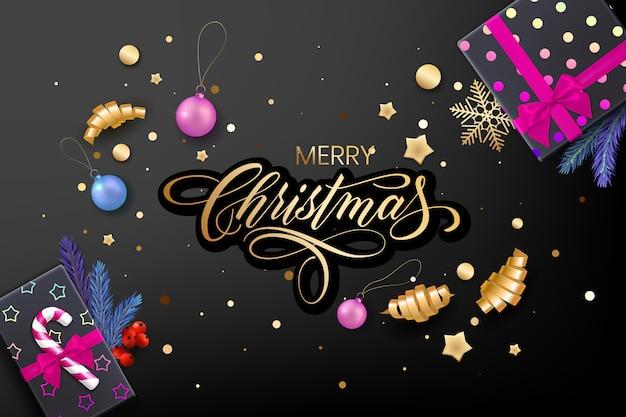 Kartka świąteczna z życzeniami świątecznymi z realistycznymi kolorowymi przedmiotami, ozdobiona bombkami, złotymi gwiazdkami, płatkami śniegu, wstążkami zwijanymi i pudełkiem prezentowym