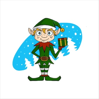Kartka świąteczna z życzeniami z małym słodkim gnomem.