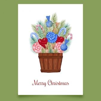 Kartka świąteczna ze słodyczami z drzewa iglastego