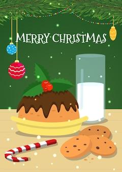 Kartka świąteczna ze świątecznymi smakołykami. ilustracja wektorowa.