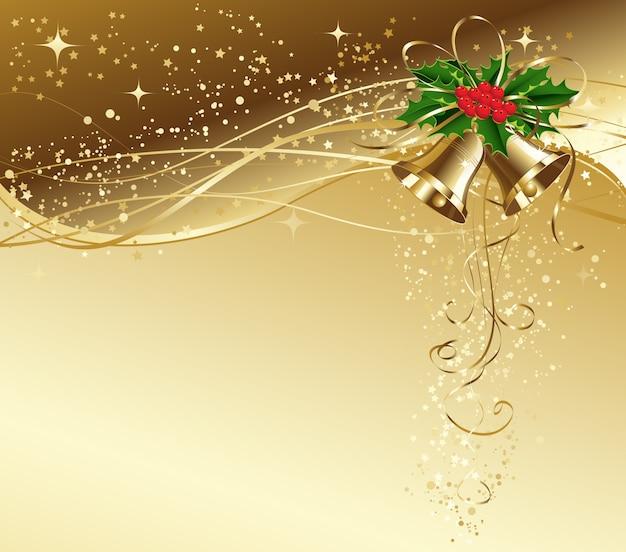 Kartka świąteczna ze złotymi dzwonami i ostrokrzewem