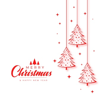 Kartka świąteczna życzenia z drzewem w stylu linii