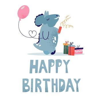 Kartka urodzinowa dla dzieci z dinozaurem. dinozaur z prezentami. kartkę z życzeniami w stylu dziecięcym, wektor