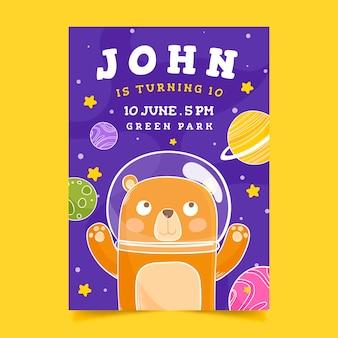 Kartka urodzinowa dla szablonu szablonu dla dzieci