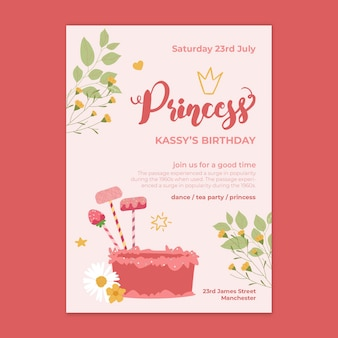 Kartka urodzinowa księżniczki dla dzieci