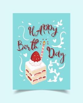 Kartka urodzinowa ozdobiona obrazkami tortów