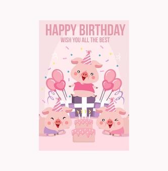 Kartka urodzinowa różowa świnka świnka