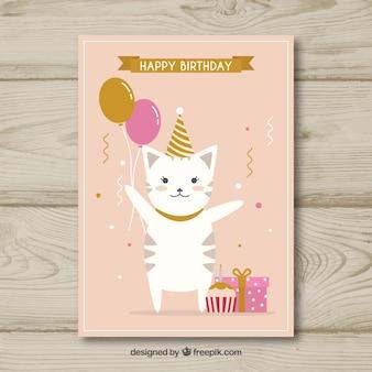 Kartka urodzinowa w płaskiej konstrukcji z kotem