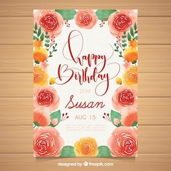 Kartka urodzinowa w stylu akwareli