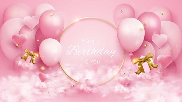 Kartka urodzinowa z balonami i złotą wstążką, pudełkiem prezentowym, elementem w kształcie serca i chmurą. 3d realistyczny luksusowy styl na różowym tle. ilustracja wektorowa do projektowania.