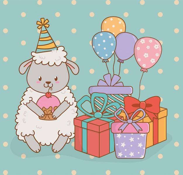 Kartka urodzinowa z cute owiec lasu