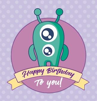 Kartka urodzinowa z cute potwora i wstążki