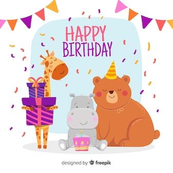 Kartka urodzinowa z ilustrowanymi zwierzętami