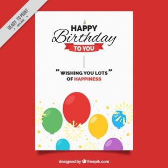 Kartka urodzinowa z kolorowych balonów i słodkie wiadomości
