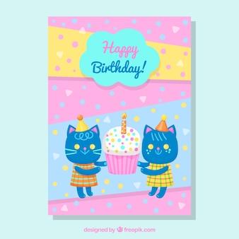 Kartka urodzinowa z kotami