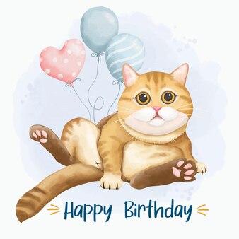 Kartka urodzinowa z kotem w stylu akwareli