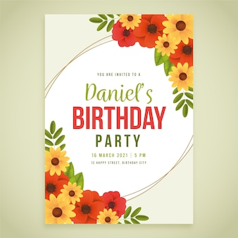 Kartka urodzinowa z kwiatami