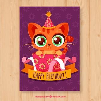Kartka urodzinowa z ładny kot w rękę wyciągnąć stylu