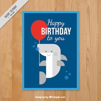 Kartka urodzinowa z płaską ładny rekin