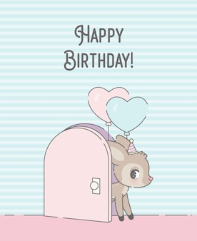 Kartka urodzinowa z premią za jelenie kreskówka