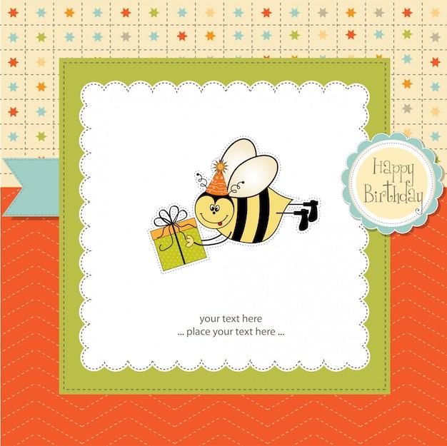 Kartka urodzinowa z pszczołą