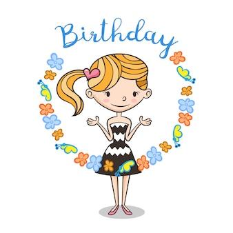 Kartka urodzinowa z uroczą dziewczyną