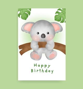 Kartka urodzinowa z uroczą koalą w stylu akwareli