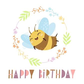 Kartka urodzinowa z uroczą pszczołą