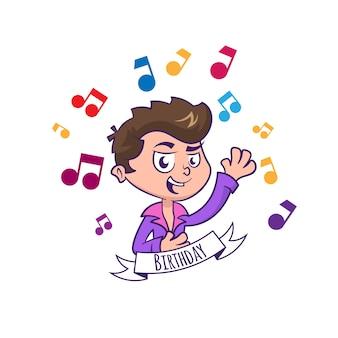 Kartka urodzinowa z uroczym chłopcem i muzyką