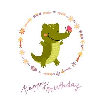 Kartka urodzinowa z uroczym krokodylem