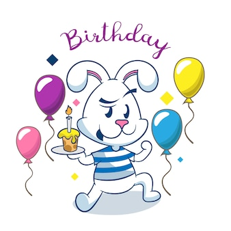 Kartka urodzinowa z uroczym królikiem