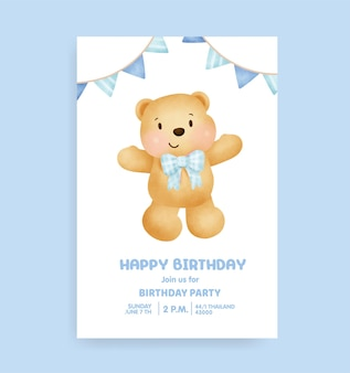 Kartka urodzinowa z uroczym misiem
