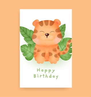 Kartka urodzinowa z uroczym tygrysem w stylu akwareli