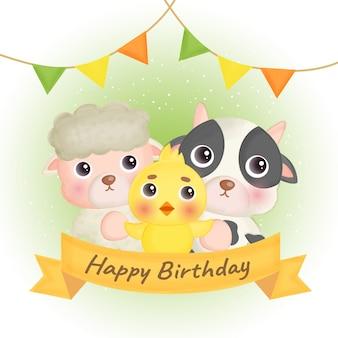 Kartka urodzinowa z uroczymi zwierzętami hodowlanymi.