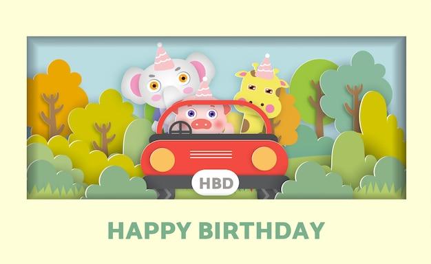 Kartka urodzinowa z uroczymi zwierzętami siedzącymi w samochodzie w lesie na kartkę z życzeniami, pocztówkę.