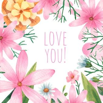 Kartka walentynkowa, kwiaty, liście botaniki