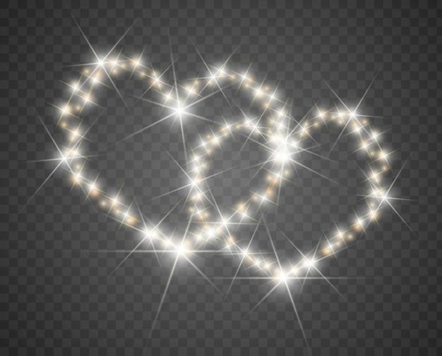 Kartka walentynkowa z sercami, światłami i rozmyciem. tło miłości serca. valentine party plakat. świetliste serce.