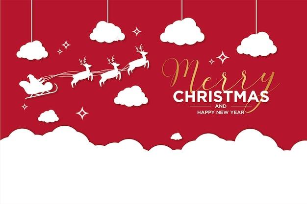 Kartka wesołych świąt i nowego roku z reniferem i latającymi saniami na śniegu
