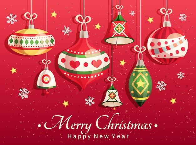 Kartka wesołych świąt i szczęśliwego nowego roku z elementami dekoracyjnymi: zabawki świąteczne, dzwonki, płatki śniegu i gwiazdy