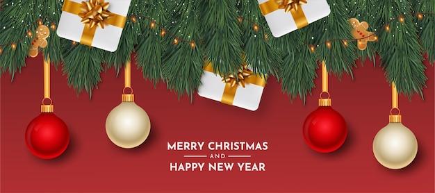 Kartka wesołych świąt i szczęśliwego nowego roku z realistycznymi obiektami
